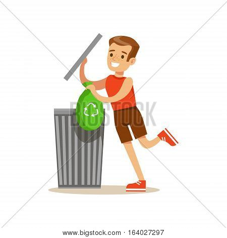 Boy Throwing Away Recycling Waste In Bin Bag Smiling Cartoon Kid Character Helping With Housekeeping And Doing House Cleanup. Vector Illustration From Children Home Cleaning And Tiding Series.