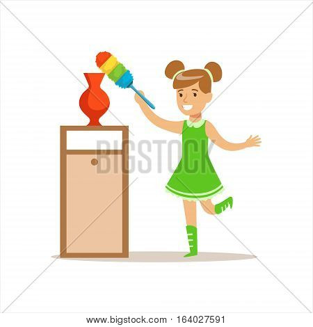 Girl Wiping The Dust From Vase With Brush Smiling Cartoon Kid Character Helping With Housekeeping And Doing House Cleanup. Vector Illustration From Children Home Cleaning And Tiding Series.