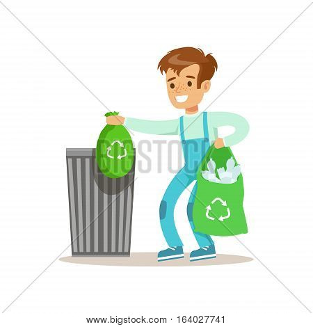 Boy Throwng Away Bin Bags Filled With Plastic Bottles Smiling Cartoon Kid Character Helping With Housekeeping And Doing House Cleanup. Vector Illustration From Children Home Cleaning And Tiding Series.