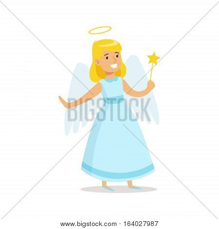 Girl In Angel Outfit Dressed As Winter Holidays Symbol For The Costume Christmas Carnival Party. Happy Kid In Holyday Disguises Vector Cartoon Illustration.
