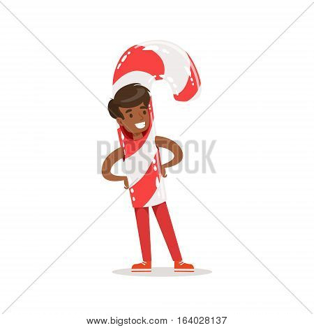 Boy In Candy Cane Stick Outfit Dressed As Winter Holidays Symbol For The Costume Christmas Carnival Party. Happy Kid In Holyday Disguises Vector Cartoon Illustration.