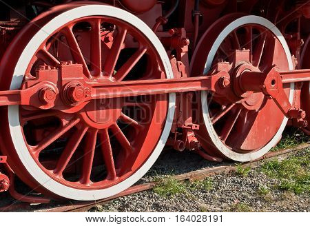 The wheels of the old steam train
