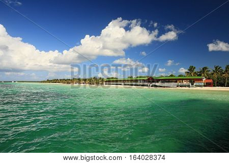 bay of Cayo Blanco island with veranda