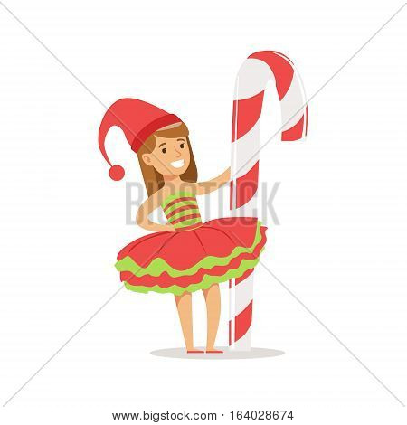 Girl With Giant Candy Cane Stick Dressed As Santa Claus Christmas Elf For The Costume Holiday Carnival Party. Happy Kid In Holyday Disguises Vector Cartoon Illustration.