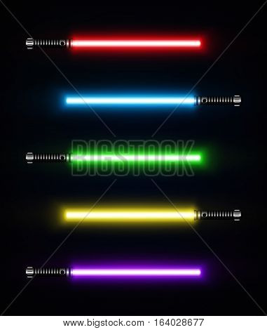Set of laser sabers. Futuristic weapon shiny laser fighting instrument. Design Elements for Your Projects. Vector illustration.