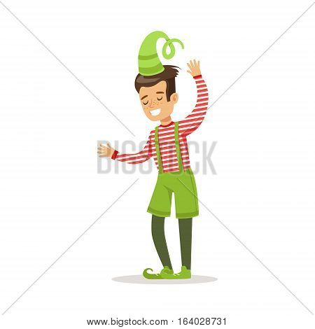 Boy In Stripy Top Dressed As Santa Claus Christmas Elf For The Costume Holiday Carnival Party. Happy Kid In Holyday Disguises Vector Cartoon Illustration.