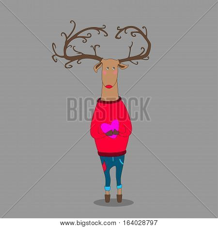 hipster deer on grey backgroung holding heart wearing pullover
