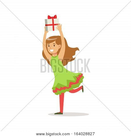 Girl Running With Present Dressed As Santa Claus Christmas Elf For The Costume Holiday Carnival Party. Happy Kid In Holyday Disguises Vector Cartoon Illustration.