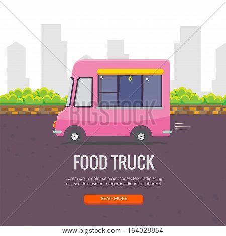 Cute cartoon street food vending truck vector banner