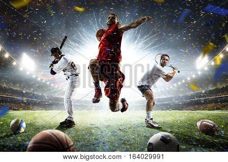 Tennis football baseball players on grand arena