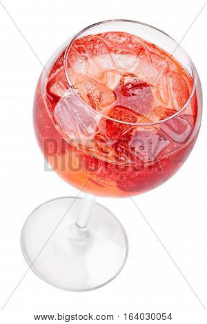 Cocktail with ice cube and strawberries. Top view. Isolated on white background.