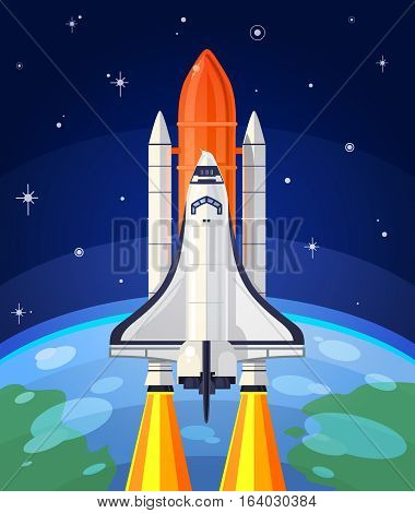 Vector illustration of a space rocket launch. Space travel to the stars.