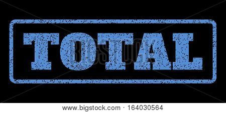 Blue rubber seal stamp with Total text. Vector tag inside rounded rectangular shape. Grunge design and dirty texture for watermark labels. Horisontal sign on a black background.