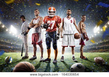 Boxing baseball football basketball volleyball players on grand arena
