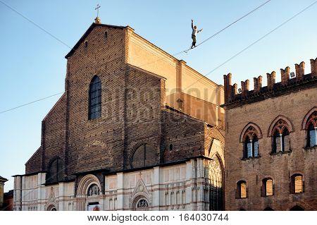 Tightrope Walk Over To Piazza Maggiore In Bologna, Italy