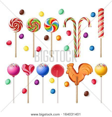 Vector illustration collection of lollipops with a variety of designs.