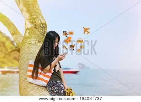Myopia Women Gaze At Mobile Phone In Relax Vacation Day At The Sea