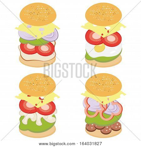 Fast Food Burger With Ingredients Layers Illustration of an appetizing fast food cheeseburger icon, with separated layers of tomatoes, red onions, salad leaves, cheese, ketchup sauce and beef steak