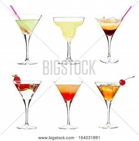Set of alocohol cocktails isolated on white background