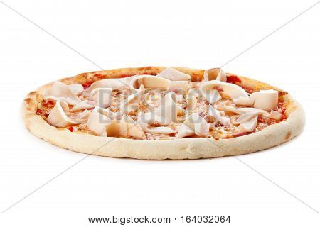 Pizza wih squid isolated on a white background