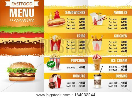 Vector illustration design menu fast food restaurant. Brochure template