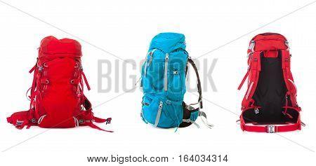 Set of Hiking Backpack isolated  on white background