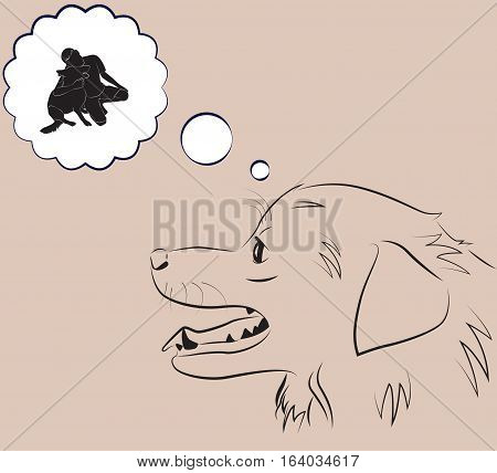 The dog is dreaming of friend. Vector illustration.
