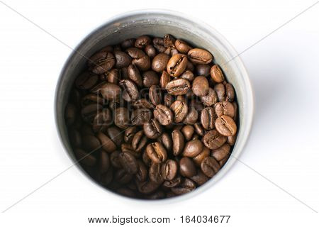 Roasted Coffee Beans In Metal Can