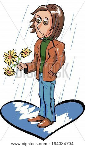 Sad young man  waiting for date under the rain. Vector illustration