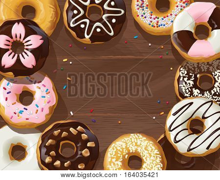 Vector illustration mix of donuts on wooden background