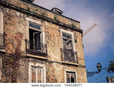 Abandon building with a railing in  Lisbon portugal