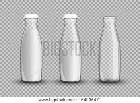 Transparent Glass Bottle Of Milk