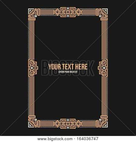 Art Deco Vertical Frame With Native American Elements On Black Background. Useful For Invitations, P