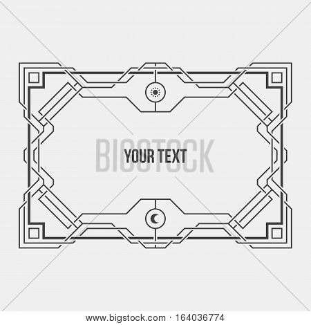 Monochrome Art Deco Geometric Horizontal Border On White Background. International Paper A4 Format.