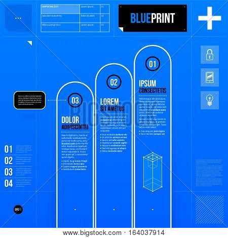 Vector Chart Template With Three Stages In Blueprint Style. Eps10
