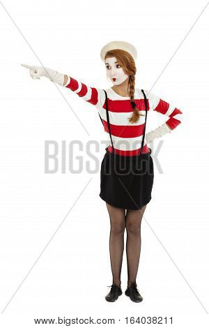 Portrait of the female MIM comedian isolated on white background