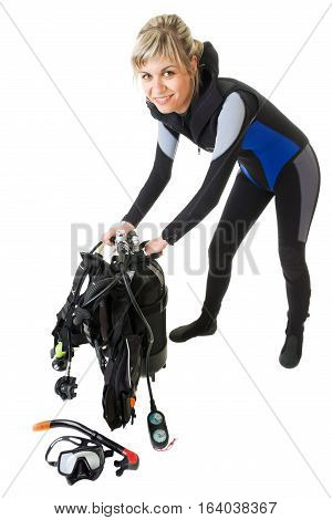 Diver checking pressure by manometer before dive. Isolated on white.