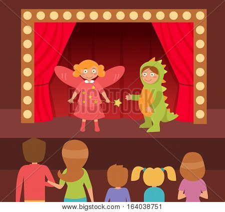 Children's theatrical performance. Dinosaur and fairy. Theatre stage. Vector. Cartoon. Isolated Flat