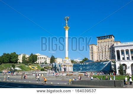 KIEV UKRAINE - JULY 30 2016: Independence Monument on the Maidan Nezalezhnosti square in Kiev Ukraine