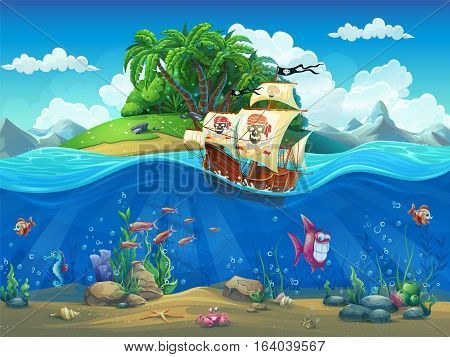 Vector cartoon illustration of a pirate ship on a background of a tropical island in the ocean among fish molluscs corral crabs on the sandy bottom.