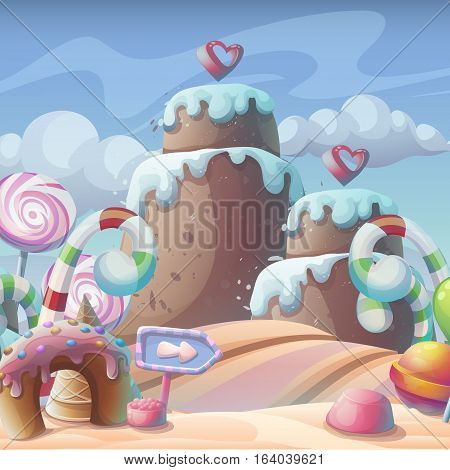 Vector cartoon illustration of a gingerbread-caramel candy under a cloudy sky composition
