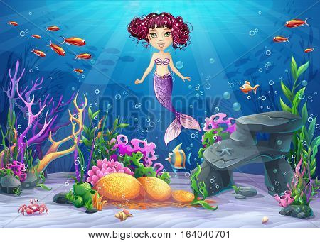 Beautiful brunette mermaid coral and colorful reefs and algae on sand. Vector illustration of sea landscape.
