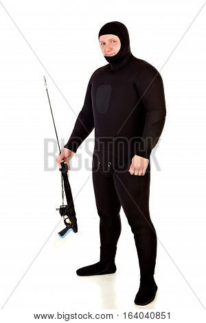 Underwater speargun. Isolated on a  white background .