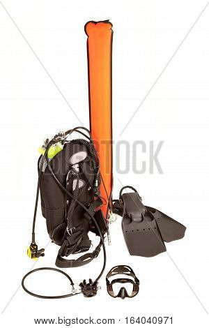 Underwater Diving equipment .Isolated on white background .