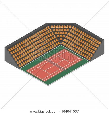 Outdoor tennis court with bleachers for spectators isolated on white background. Flat 3D isometric style vector illustration.
