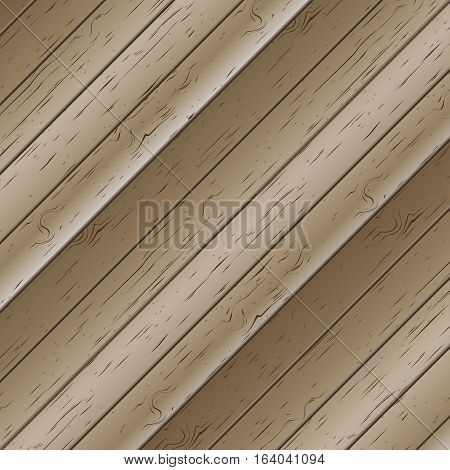 Wooden texture of planks set at an angle of 45 degrees vector illustration.