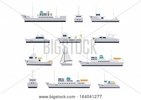 Set ship of fishing vessels and cruise
