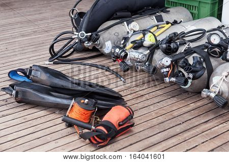 Diving equipment on the sea safari boat