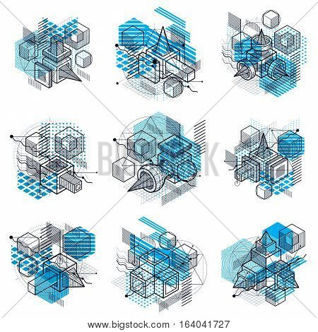 Isometric Abstract Backgrounds With Linear Dimensional Shapes, Vector 3D Mesh Elements. Compositions