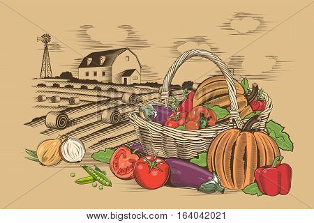 Vegetable basket and farm in woodcut style.